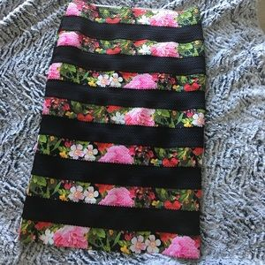Stretchy floral striped pencil skirt NY&co size M